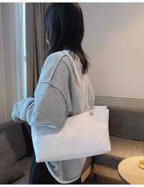 Fashion White Chain Diamond Crossbody Shoulder Bag