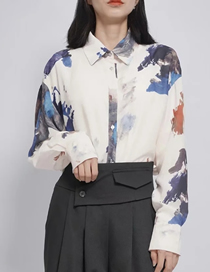 Fashion Blooming Printed Blooming Geometric Loose Shirt
