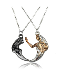 Fashion Color Mixing Two-tone Diamond Devil Angel Alloy Necklace