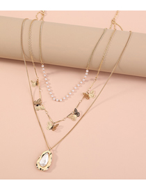 Fashion Golden Small Butterfly Pearl Geometric Multilayer Necklace