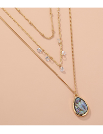 Fashion Golden Micro-inlaid Zircon Natural Abalone Shell Water Drop Multilayer Necklace