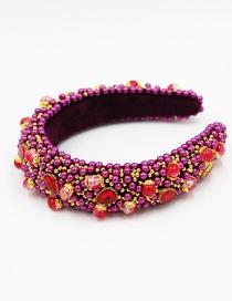Fashion Red Rice Beads Beaded Diamond Sponge Headband