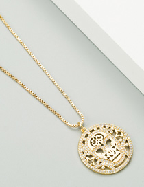 Fashion Golden Copper 18k Gold Micro-inlaid Zircon Skull Pendant Hollow Round Necklace