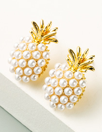 Fashion White Pineapple Pearl Alloy Plating Earrings