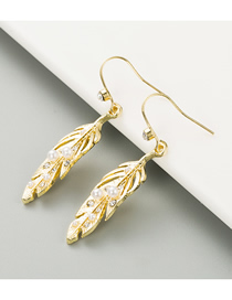 Fashion Golden Natural Pearl Leaf Alloy Diamond Earrings