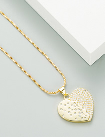 Fashion Golden 18k Copper-plated Gold Micro-inlaid Zircon Heart Necklace