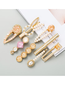 Fashion 8-piece Set Diamond And Pearl Smiley Geometric Alloy Hairpin