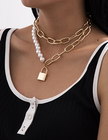 Fashion Golden Multilayer Necklace With Alloy Pearl Lock Pendant