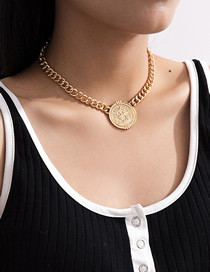 Fashion Golden Cross Chain Round Tassel Alloy Pendant Necklace