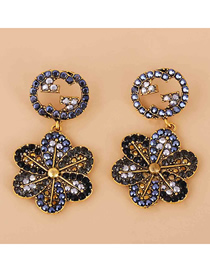 Fashion Black Geometric Round Flower Earrings With Diamonds