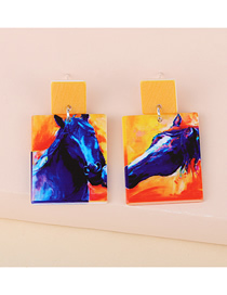 Fashion Contrast Abstract Geometric Shape Resin Contrast Earrings