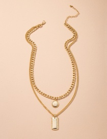 Fashion Golden Geometric Alloy Thick Chain Multilayer Necklace