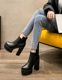 Fashion Black High Heel Platform Thick Heel Ankle Boots