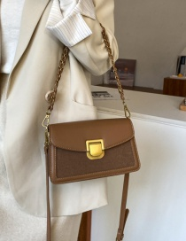 Fashion Brown Contrast Frosted Chain Lock Shoulder Crossbody Bag