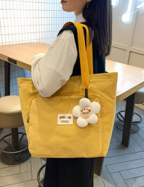 Fashion Yellow Large Capacity Canvas Letter Label Stitching Messenger Bag