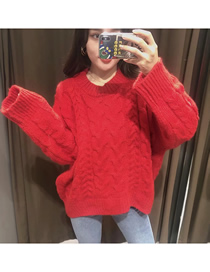 Fashion Red Twist Pullover Long Sleeve Loose Sweater