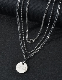 Fashion Three-tiered Medallion Necklace Yuan Brand Stainless Steel Round Bead Multilayer Necklace