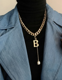 Fashion Gold (copper Material) Letter Pearl Pendant Thick Chain Necklace
