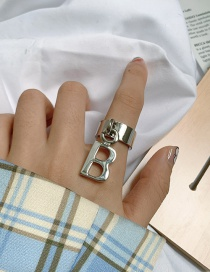 Fashion Silver Color Gold-plated Copper Letter Pendant Ring
