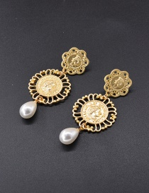 Fashion Gold Color Long Coin Pearl Portrait Hollow Earrings