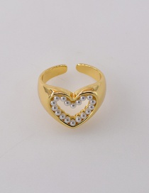 Fashion Love Pearl Starry Hollow Heart Oval Alloy Ring