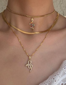 Fashion Gold Color Serpentine Curved Diamond Alloy Multilayer Necklace