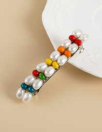 Fashion Color Alloy Pearl Wood Beaded Hairpin