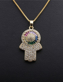 Fashion Palm Box Chain Gold Micro-set Zircon Eye Palm Gold-plated Copper Necklace