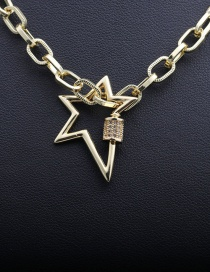 Fashion 50mm Chain + Five-pointed Star Pentagram Micro-inlaid Zircon Thick Chain Necklace