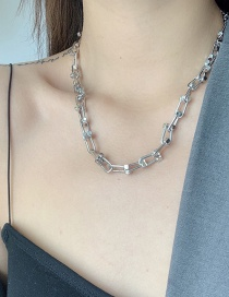 Fashion Silver Color Thick Chain Geometric Alloy Hollow Necklace
