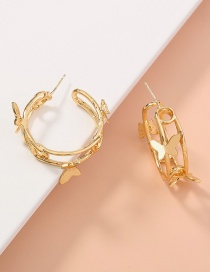 Fashion Golden Double C Three-dimensional Butterfly Alloy Earrings