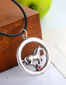 Fashion Silver Round Horse And Diamond Necklace