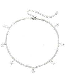 Fashion Silver Five-pointed Star Alloy Pendant Necklace