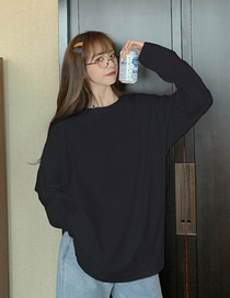 Fashion Black Solid Color Loose Round Neck Long Sleeve T-shirt