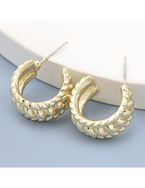 Fashion Gold Color C-shaped Semicircle Alloy Spiral Texture Earrings