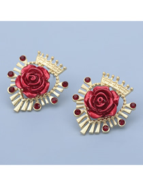 Fashion Red Heart Shaped Alloy Crown Rose Flower Resin Earrings