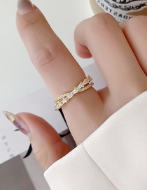 Fashion Gold Color Micro-set Zircon Cross Open Ring