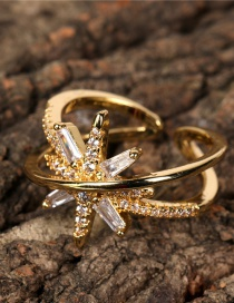 Fashion Gold Color Meteor Rice Word Micro Inlaid Zircon Open Ring
