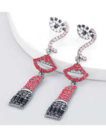 Fashion Red Eye And Mouth Alloy Diamond-studded Acrylic Earrings