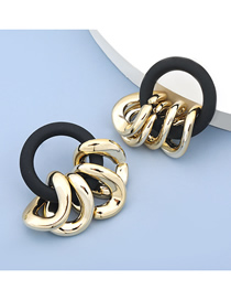 Fashion Black Resin Geometric Hoop Earrings