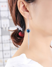 Fashion Blue Love Heart Tassel Inlaid Gemstone Alloy Earrings