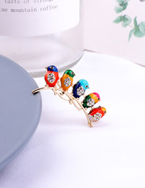 Fashion Color Mixing Little Bird Dripping Oil Diamond Brooch