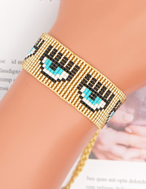 Fashion Gold Color Eyes Handmade Beaded Rice Bead Bracelet