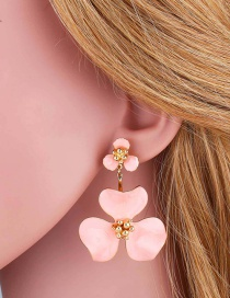 Fashion Pink Flower Dripping Alloy Earrings
