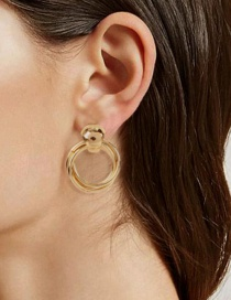 Fashion Gold Color Alloy Plating Geometric Round Earrings
