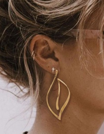 Fashion Gold Color Alloy Plating Geometric Hollow Earrings