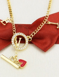 Fashion Gilded Gold-plated Letters Dripping Oil Love Heart Ring Buckle Pendant Necklace