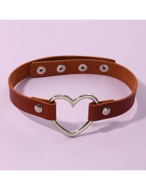 Fashion Coffee Color Pu Leather Love Heart Alloy Hollow Geometric Necklace