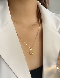 Fashion Gold Color Steel And Titanium Geometric Double Necklace