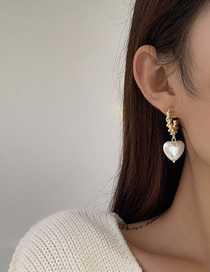 Fashion White Heart Pearl Metal Button Earrings